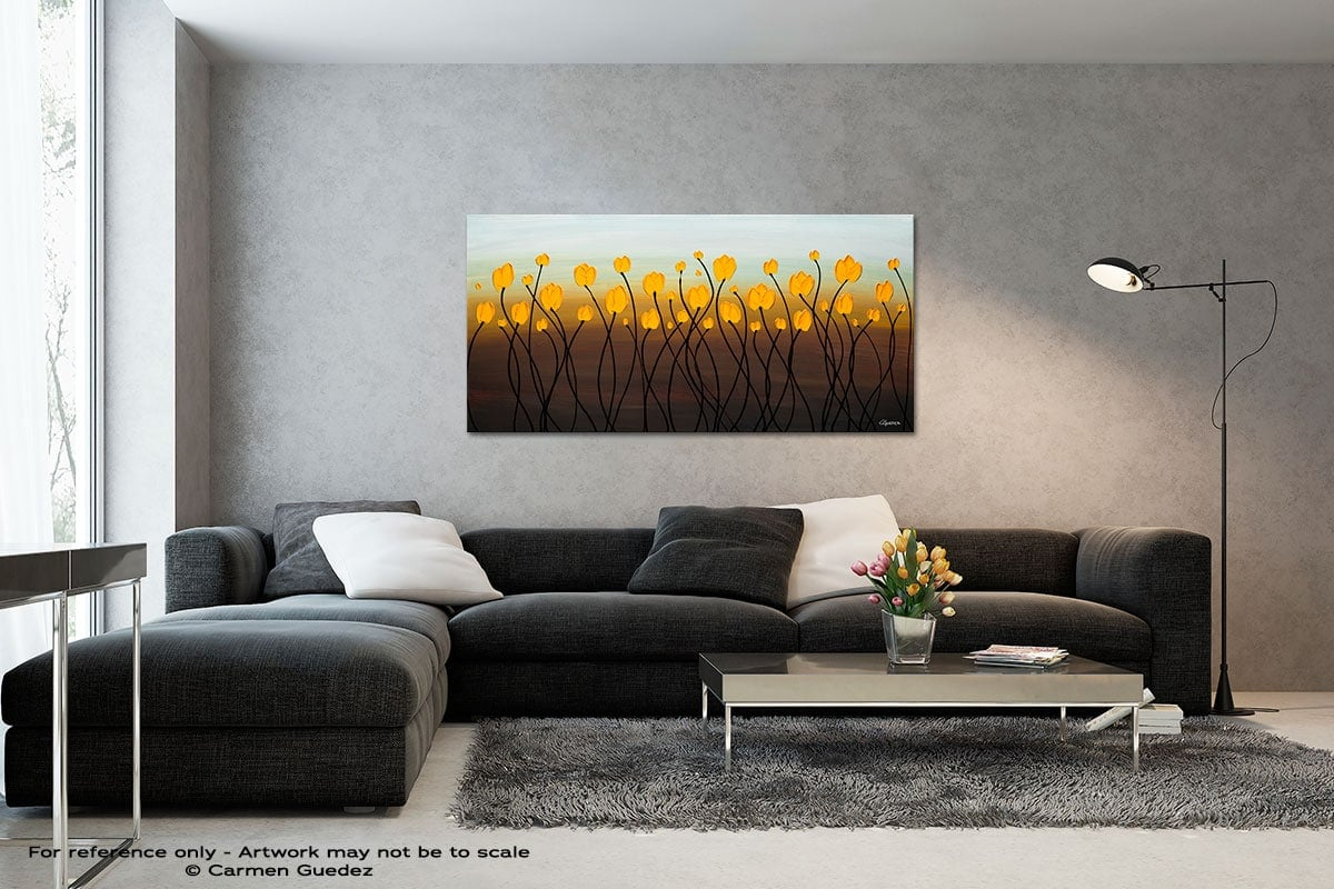 Dancing Tulips Black And White Wall Abstract Art Painting Id70