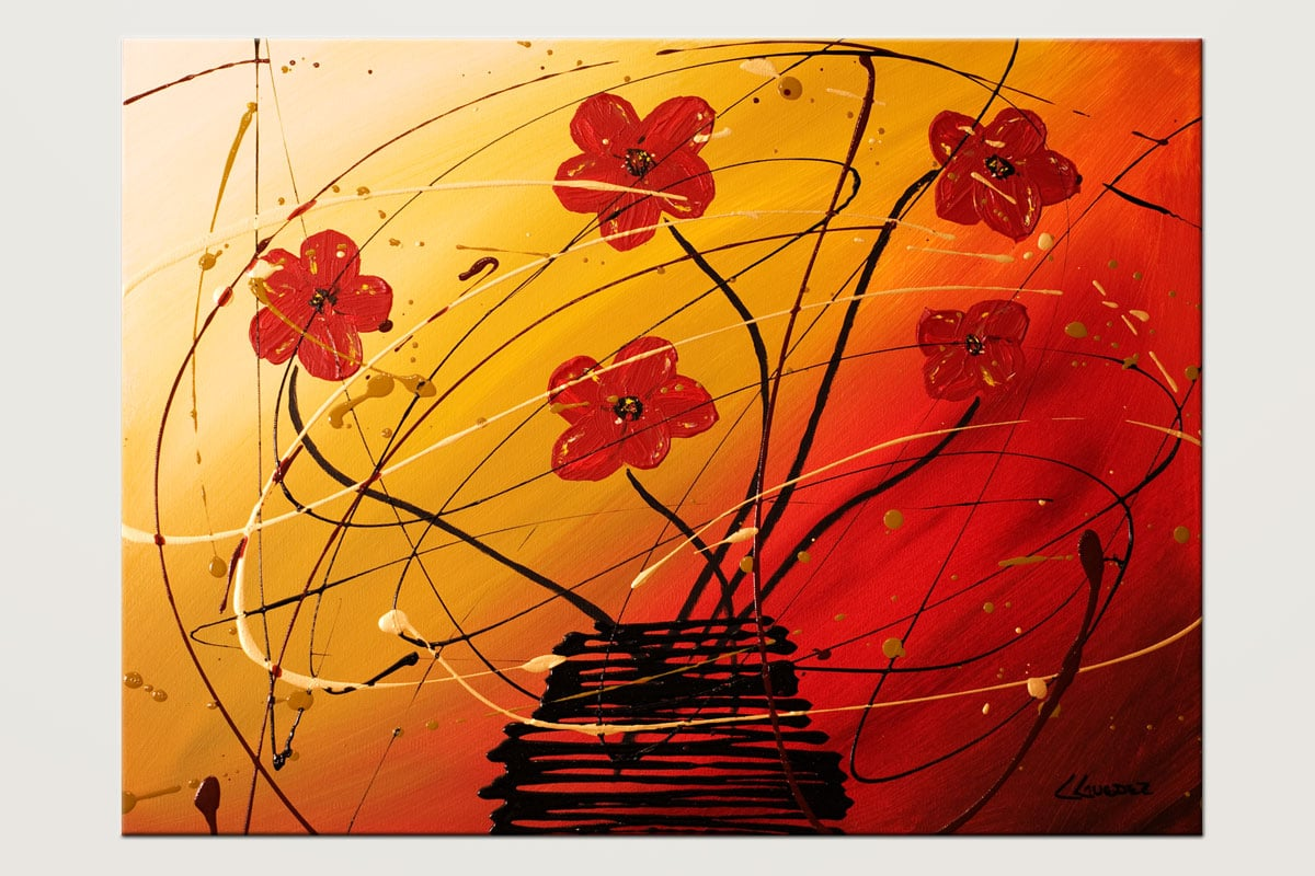 Dripping Flowers - Abstract Art Painting Image by Carmen Guedez
