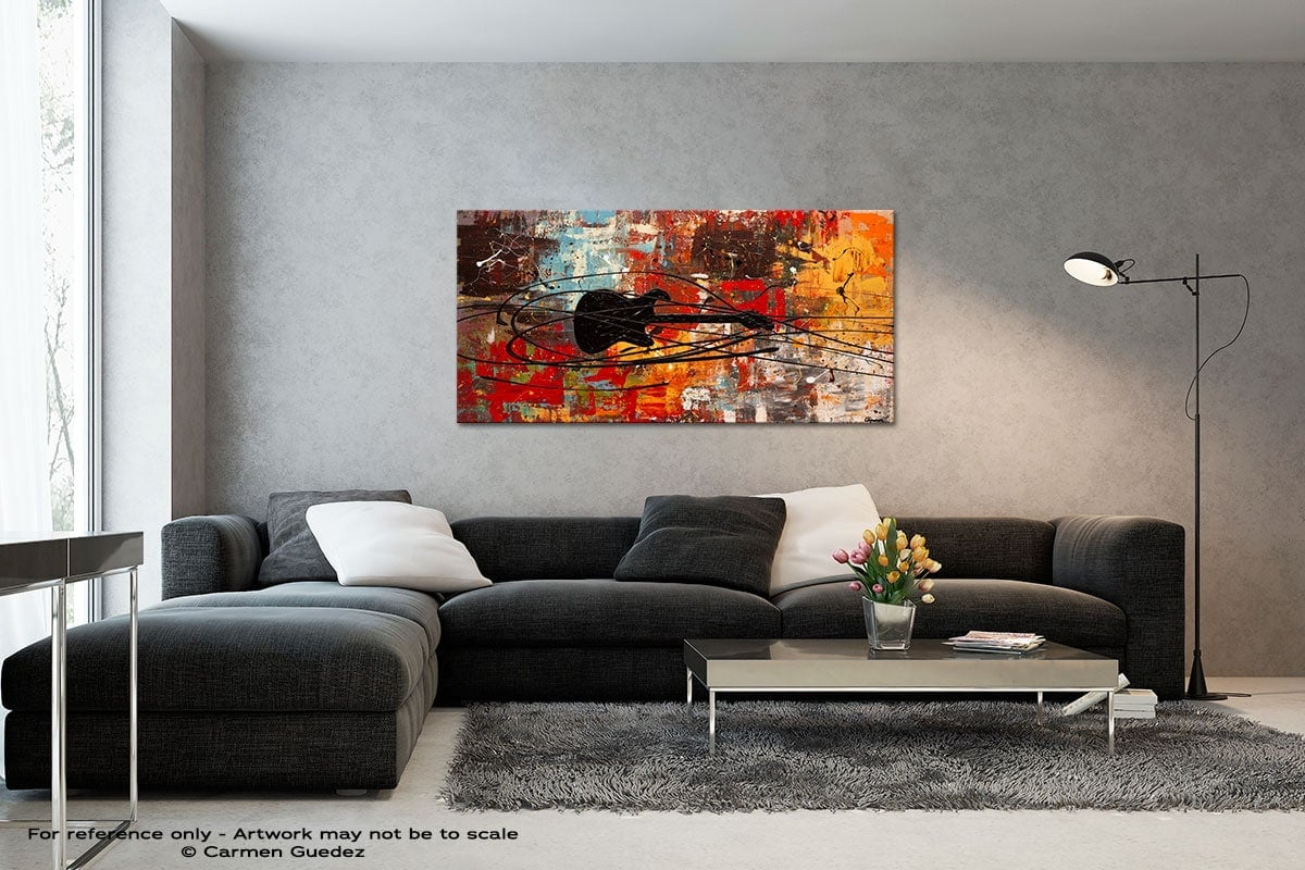 Feel The Freedom Black And White Wall Abstract Art Painting Id70
