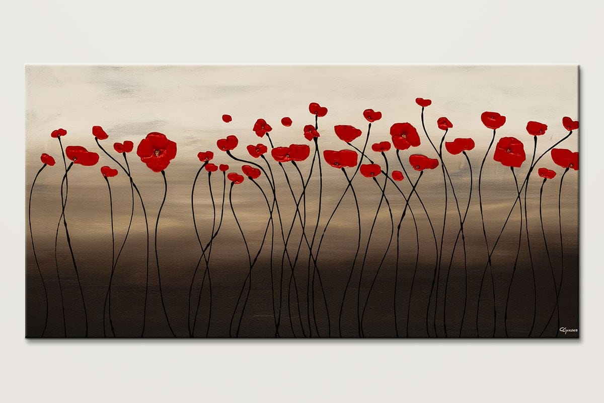 Flowers Art Painting-Fleurs en Rouge-Abstract Art Paintings by Carmen Guedez - Image