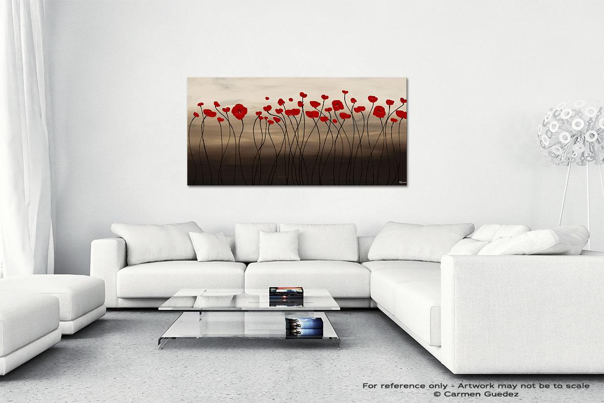 Fleurs En Rouge Wall Art Canvas Painting Id40