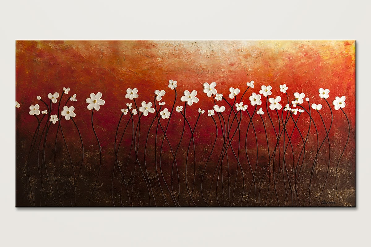 Floral Inspiration Red Landscape Abstract Art Painting Id80