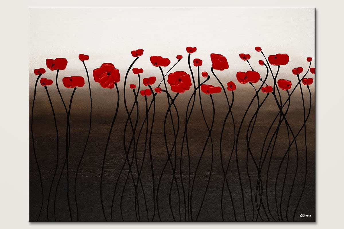 Florissant Red Flowers Abstract Art Painting Id80