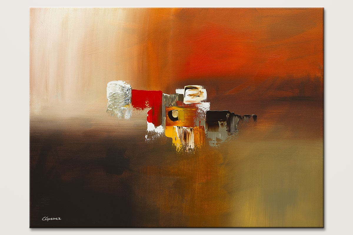 Wall art painting fond memories large abstract art for Modern abstract paintings for sale