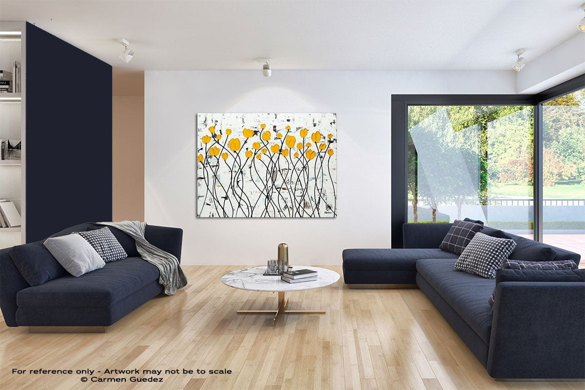 Fresh Picked Flowers Modern Blue Abstract Painting Home Id50