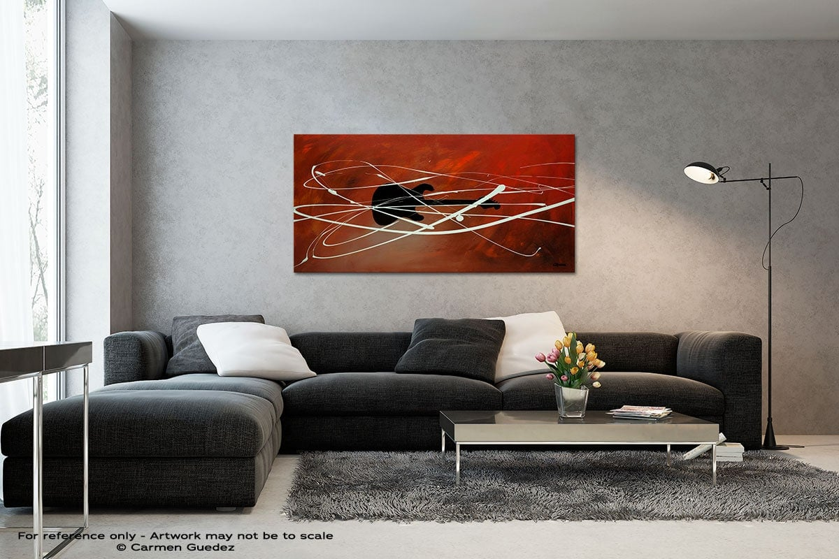 Gitarre Black And White Wall Abstract Art Painting Id70