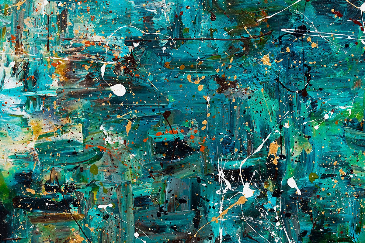 Go For It Abstract Art Painting Close Up