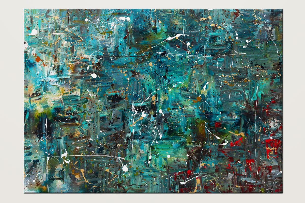 Go For It Modern Abstract Art In Blue And Teal