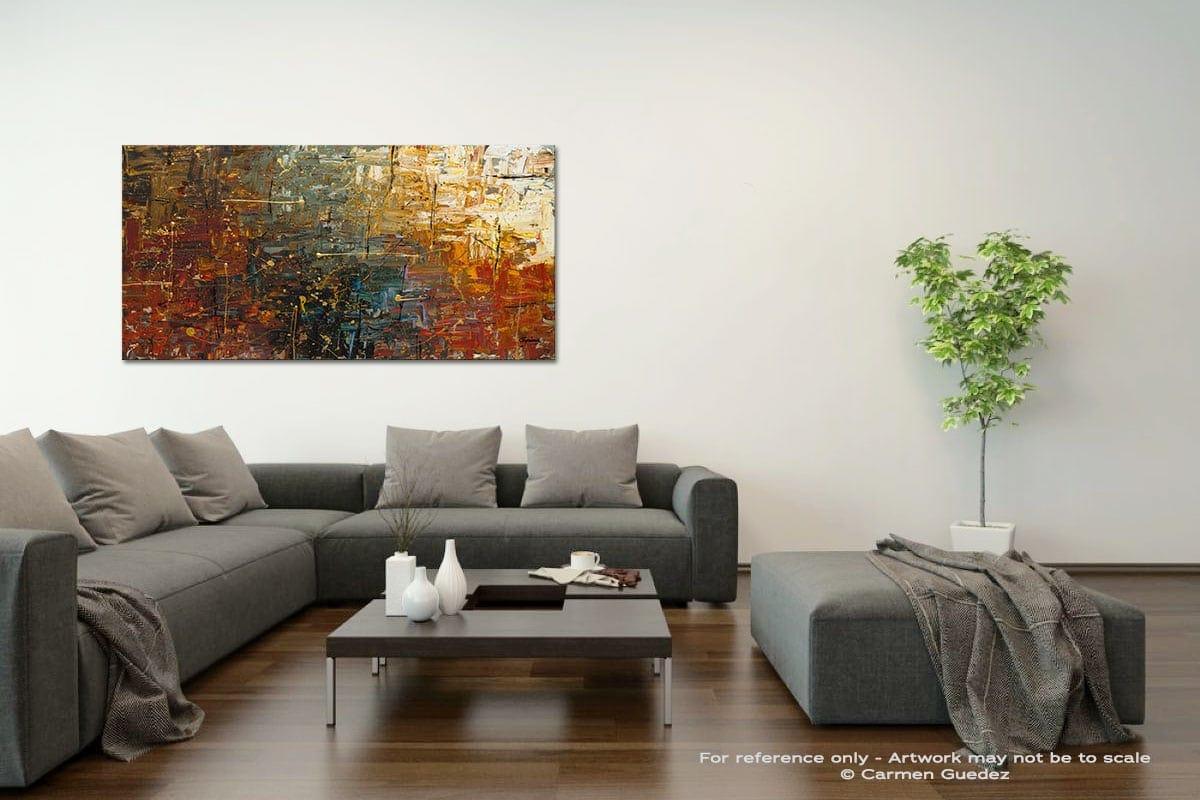 Gold Splash Acrylic Gray Wall Art Painting Id34