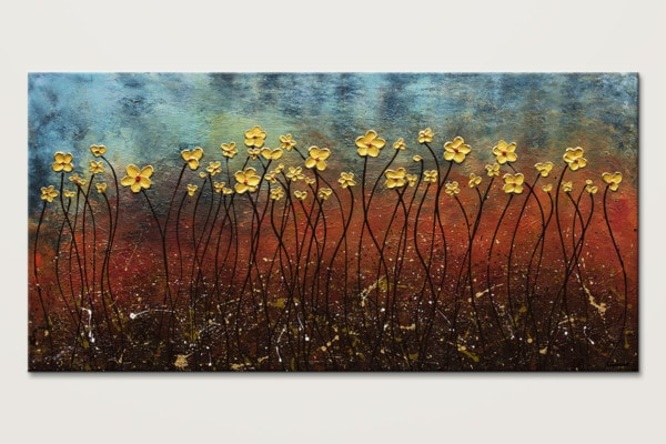 Golden Flowers Blue And Gold Abstract Art Id80 1