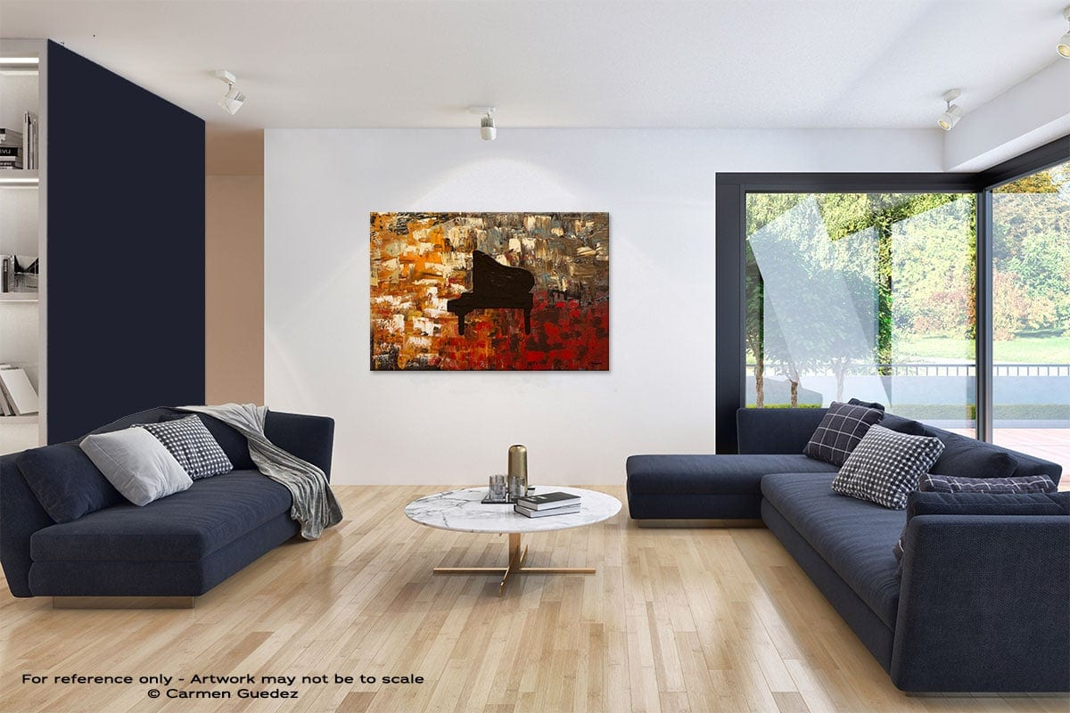 Grand Piano Abstract Art Blue Interior Home Id59
