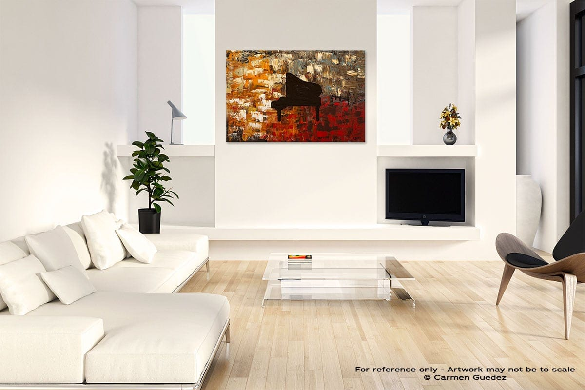 Grand Piano Abstract Art Painting Interior Living Room Design Id60