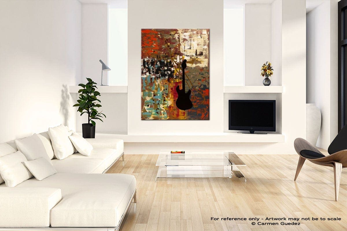 Guitar Quest Neutral Wall Abstract Painting Living Room Id55