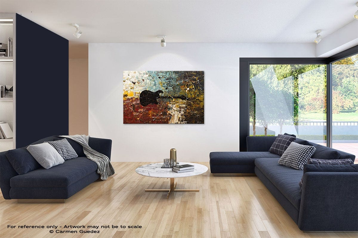 Guitar Story Abstract Art Blue Interior Home Id59