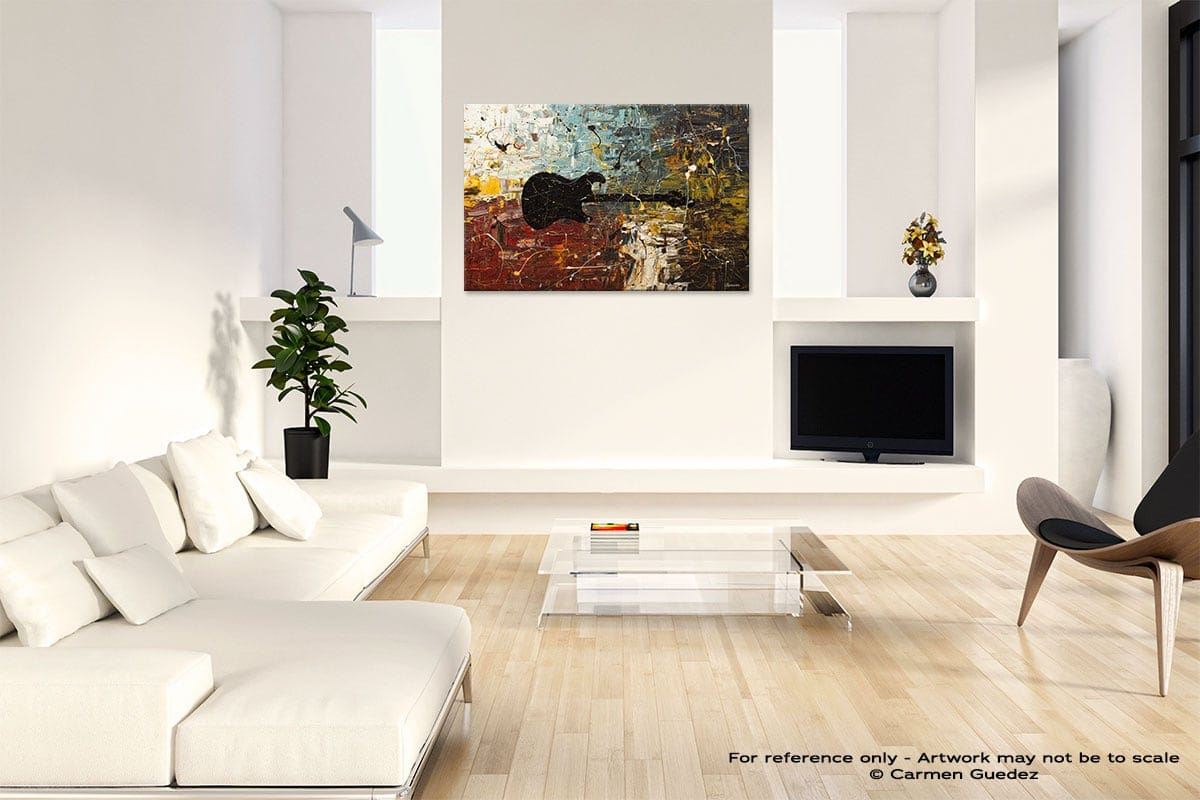 Guitar Story Abstract Art Painting Interior Living Room Design Id60