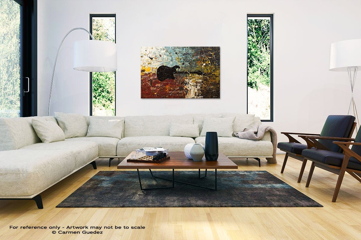 Guitar Story Abstract Painting Interior Decor Art Id61