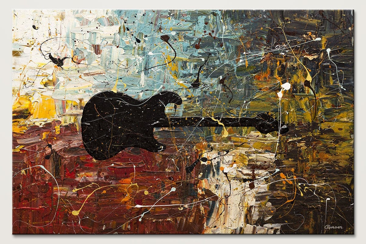 Guitar Story Guitar Abstract Art Painting Id80