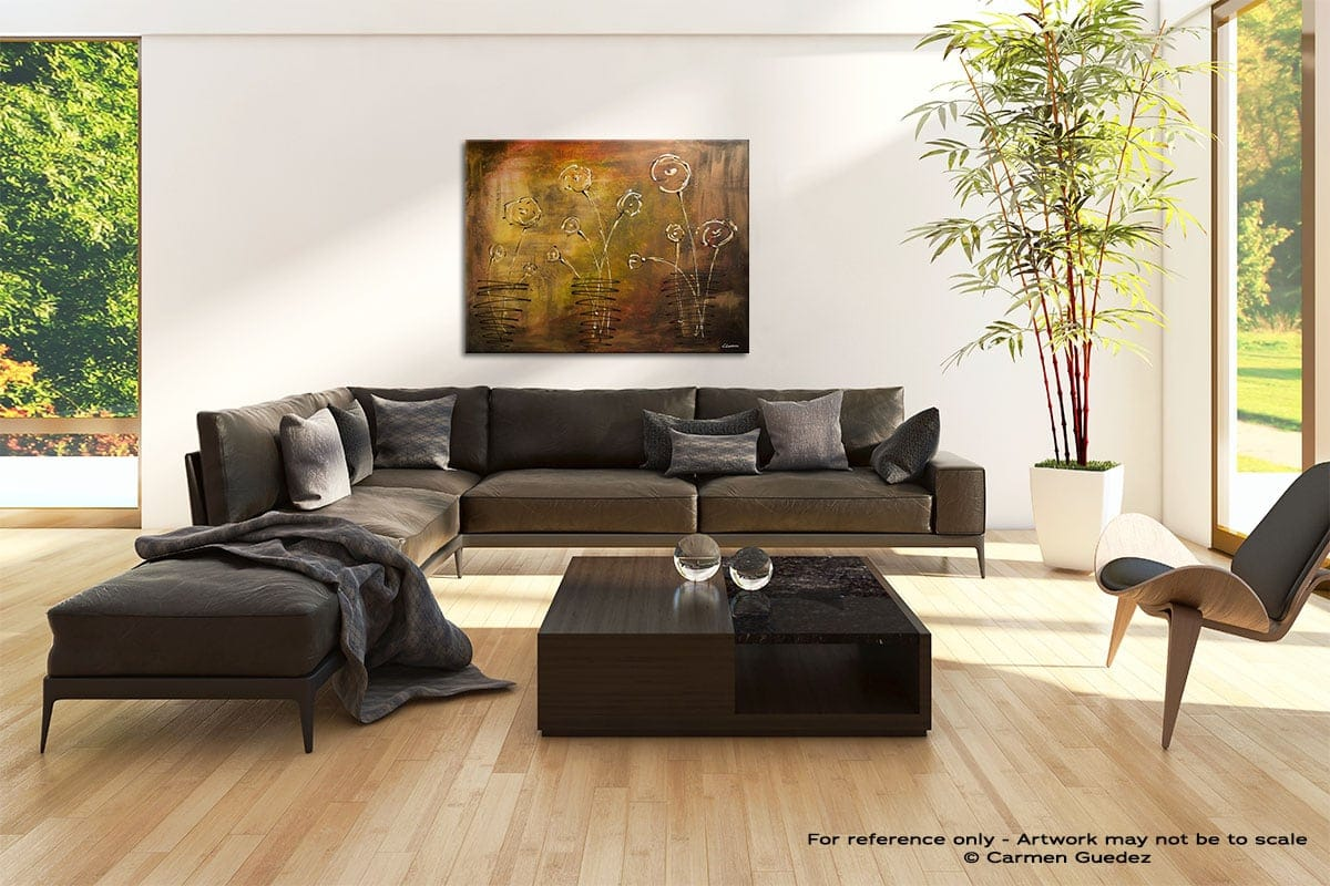 Happy Poppies Abstract Painting Modern Home Id69