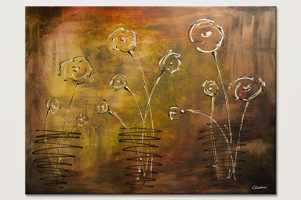 Happy Poppies Modern Abstract Art Painting Id80