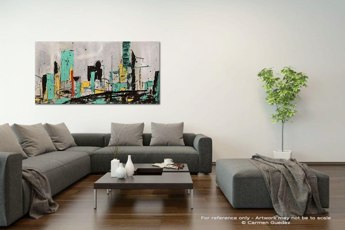Hashtag City Acrylic Gray Wall Art Painting Id34