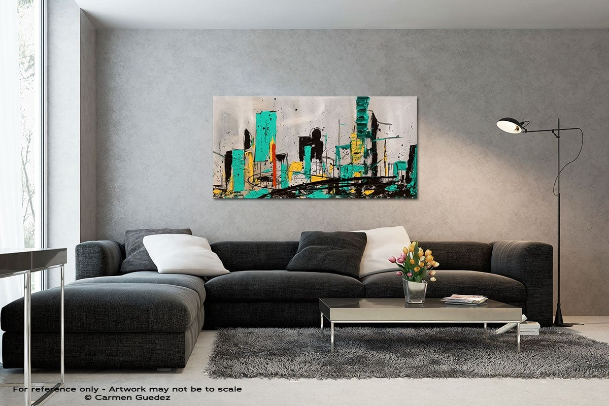Hashtag City Black And White Wall Abstract Art Painting Id70
