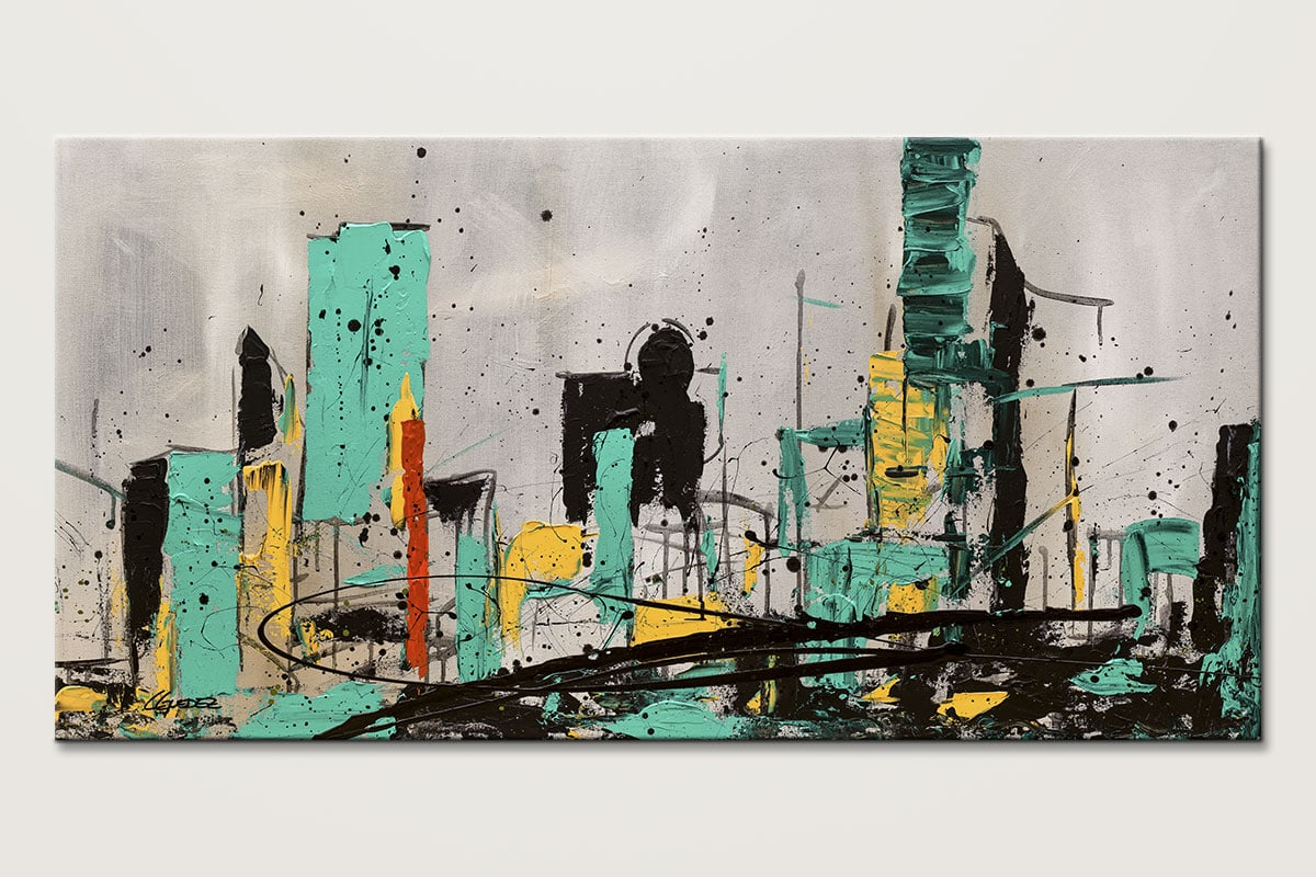 Hashtag City - Abstract Art Painting Image by Carmen Guedez
