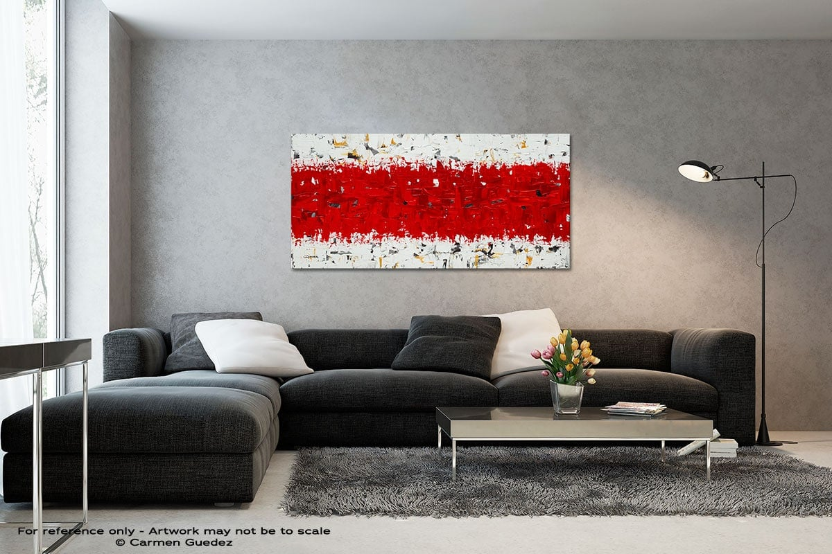 Hashtag Red Black And White Wall Abstract Art Painting Id70