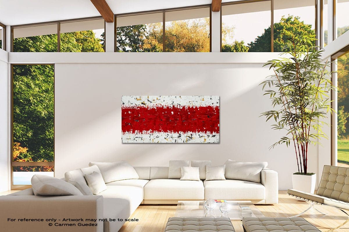 Hashtag Red Modern Canvas Abstract Art Id38