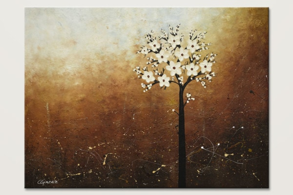 Hope On The Horizon White Flowers Painting Id80