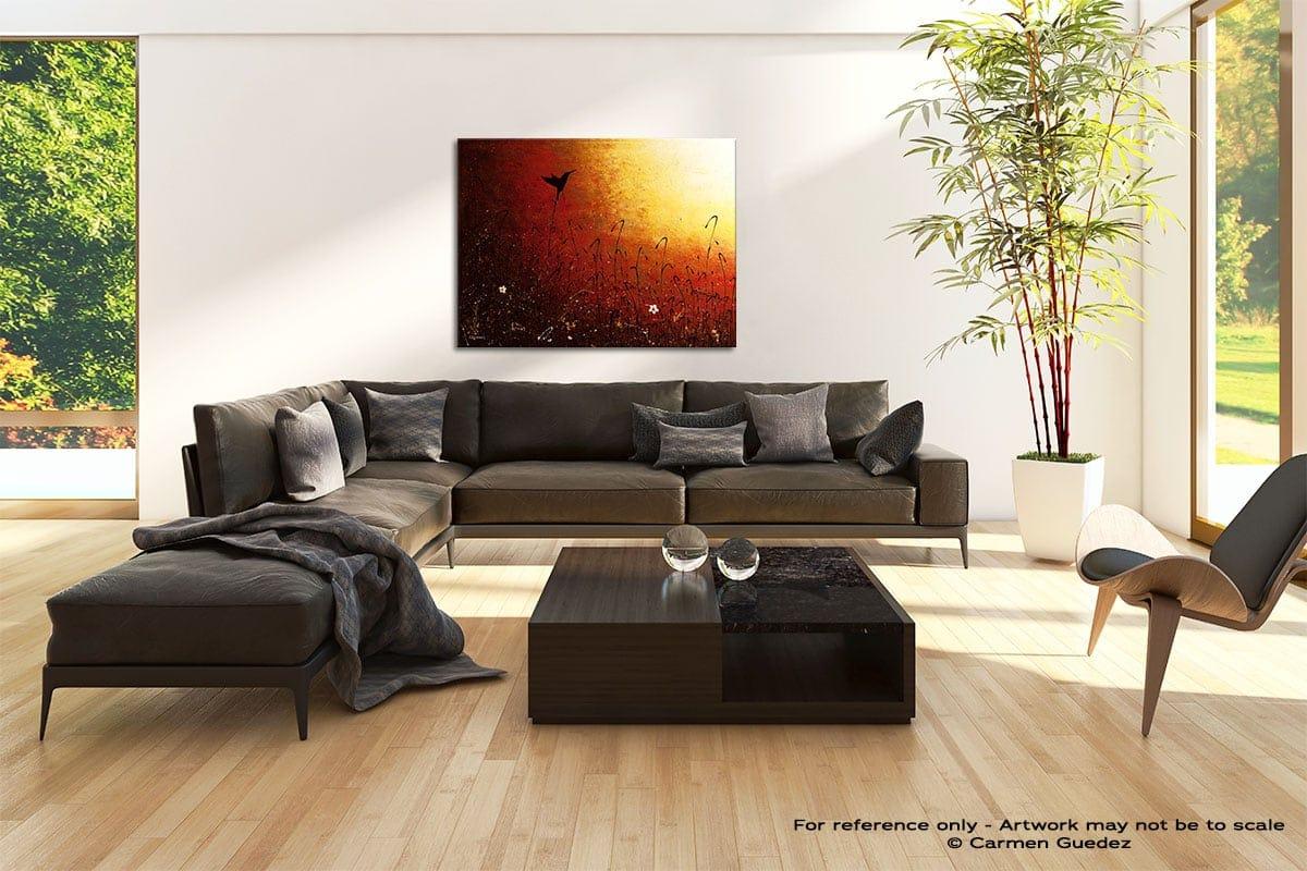 Hummingbird Abstract Painting Modern Home Id69