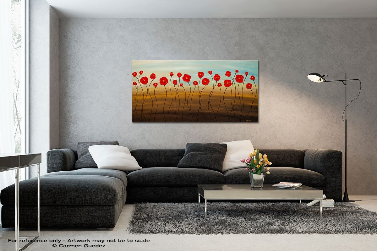 Hungarian Poppies Black And White Wall Abstract Art Painting Id70