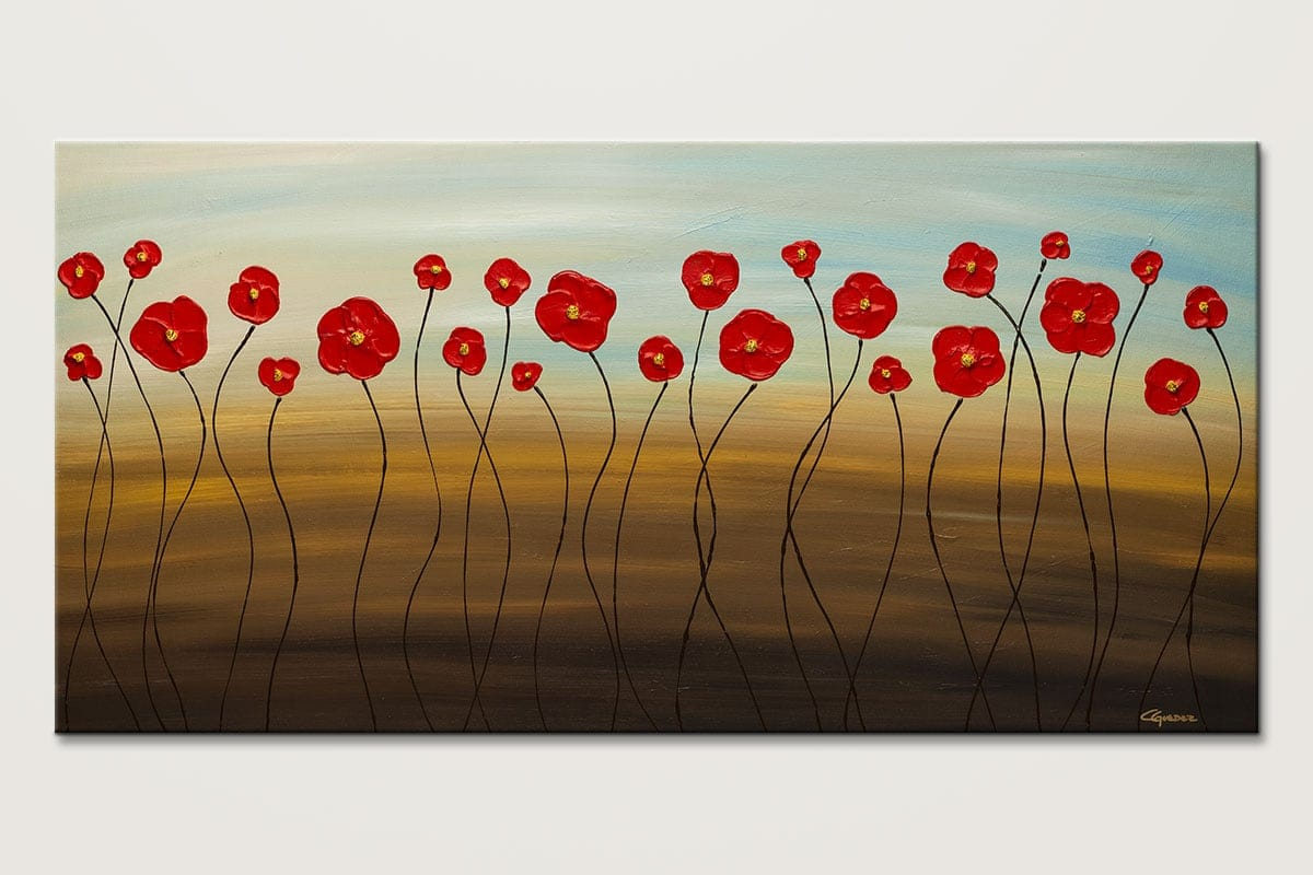 Large original abstract art painting hungarian poppies for Different types of abstract art