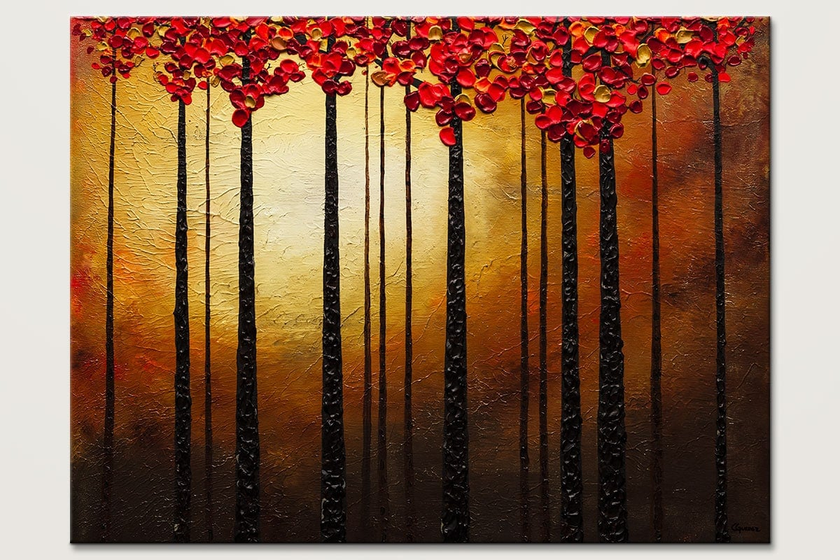 Landscape Abstract Art Painting-Into the Light-Trees Abstract Art Paintings by Carmen Guedez - Image