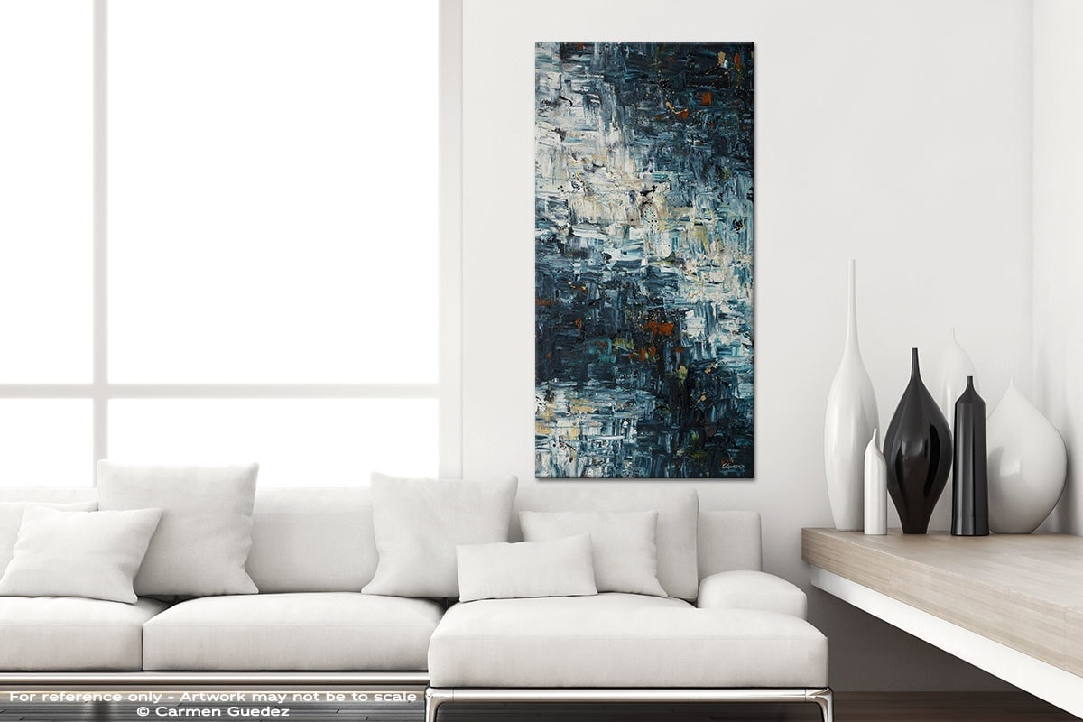 Island Falls Vertical Abstract Art Canvas Painting Id44