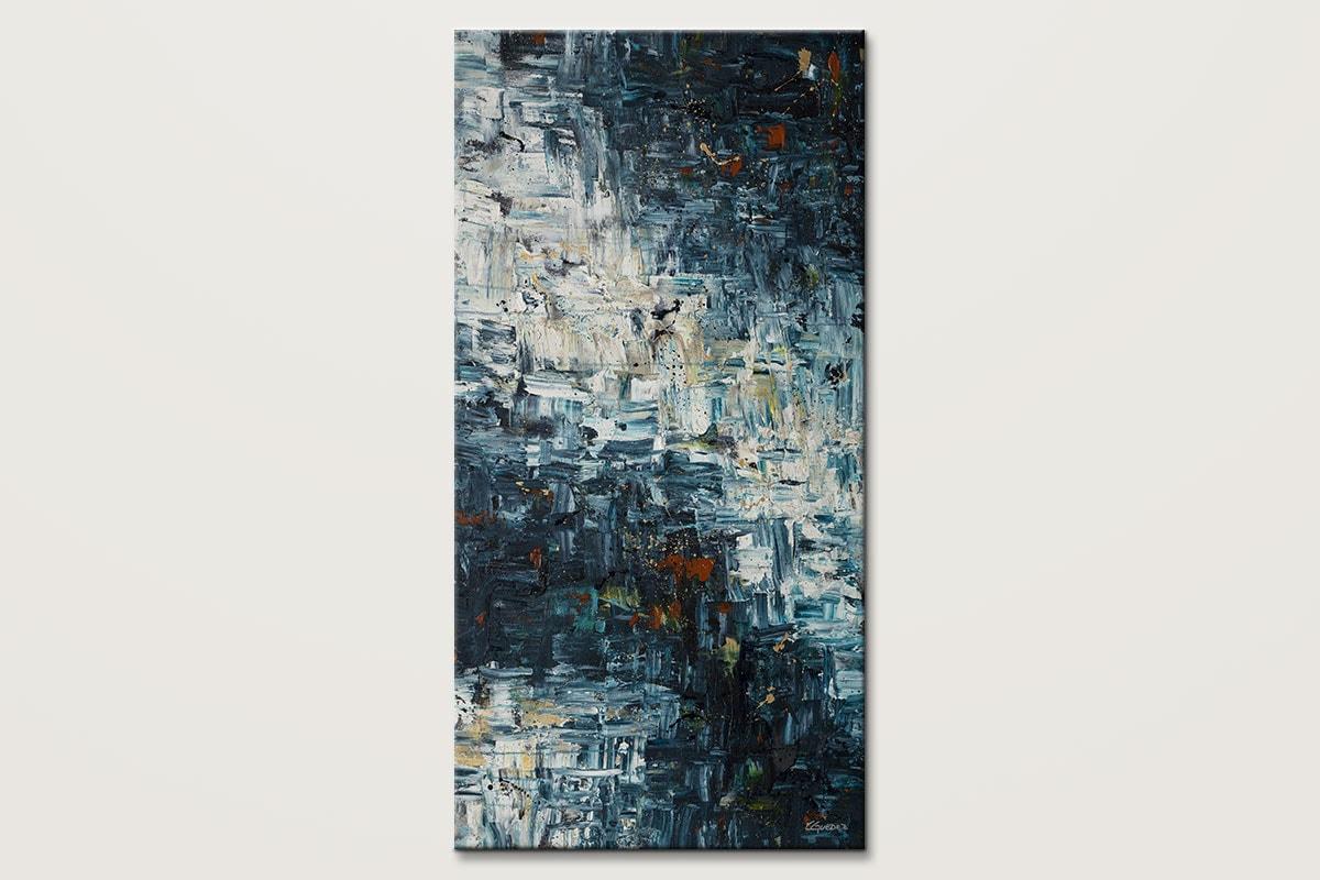 Island Falls Vertical Textured Abstract Art