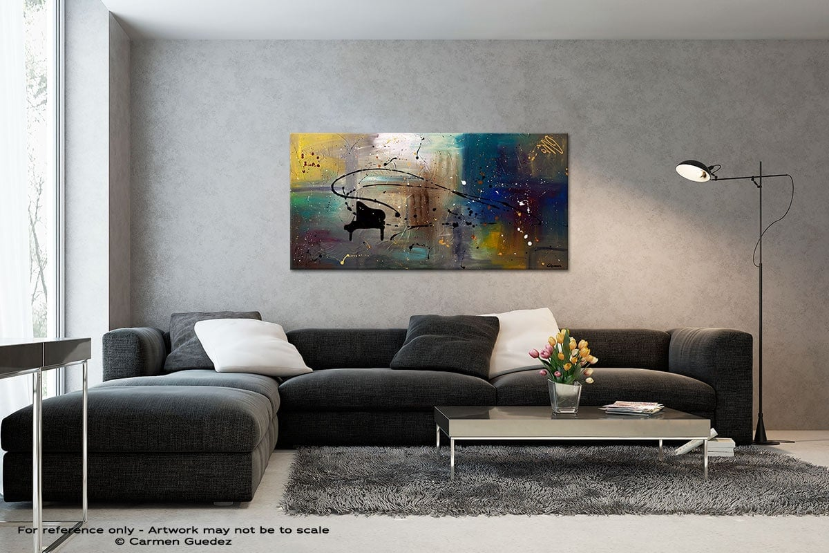 Jazz Night Black And White Wall Abstract Art Painting Id70