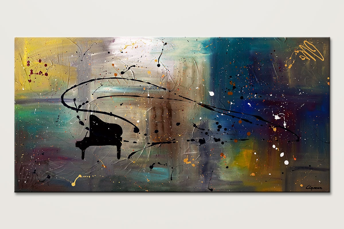 Jazz Night - Abstract Art Painting Image by Carmen Guedez