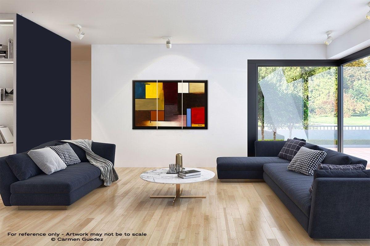 La Ville De Paris Abstract Art Blue Interior Home Id59