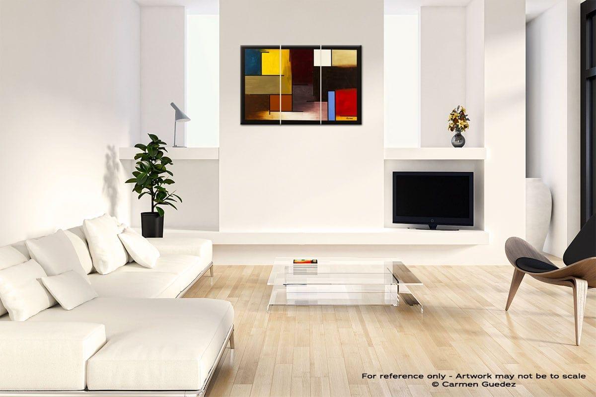 La Ville De Paris Abstract Art Painting Interior Living Room Design Id60