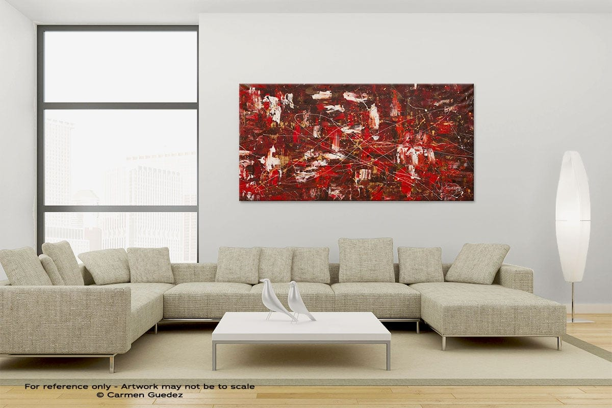 Large Canvas Abstract Painting Id6 Red Matter