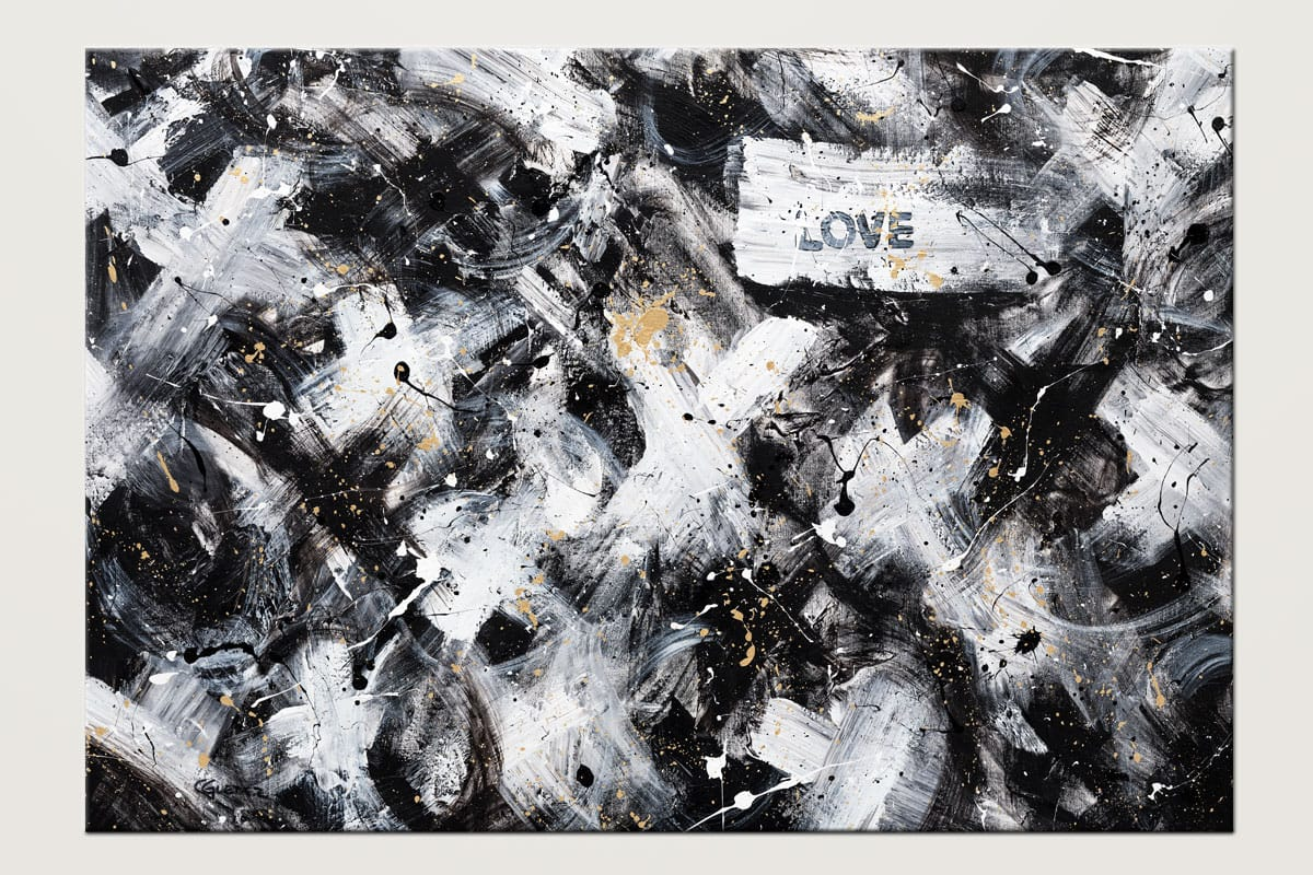 Love Is Love Black White And Gold Abstract Art