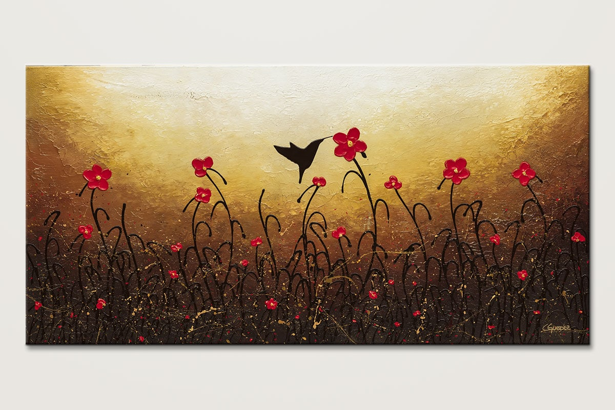 Lovely Bird Abstract Flower Art Painting Id80