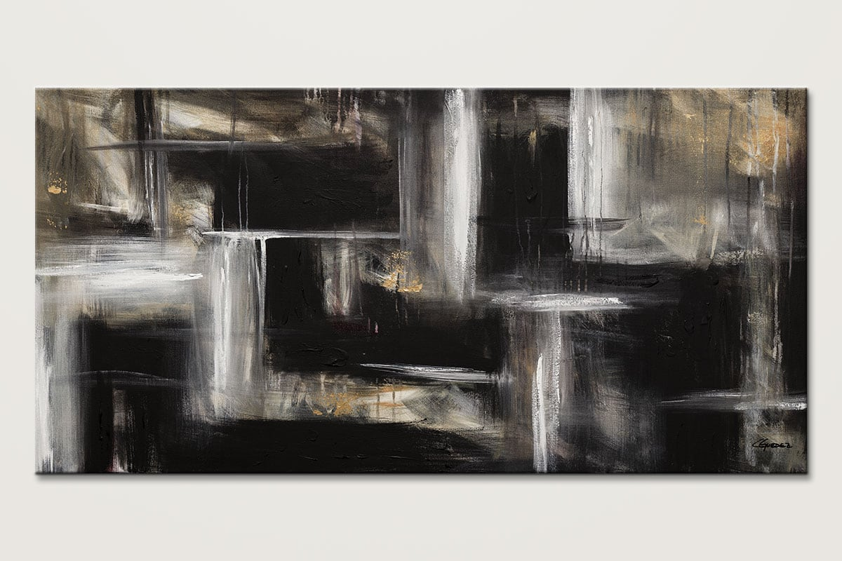 Mind Over Matter Black And White Abstract Art Painting Id80