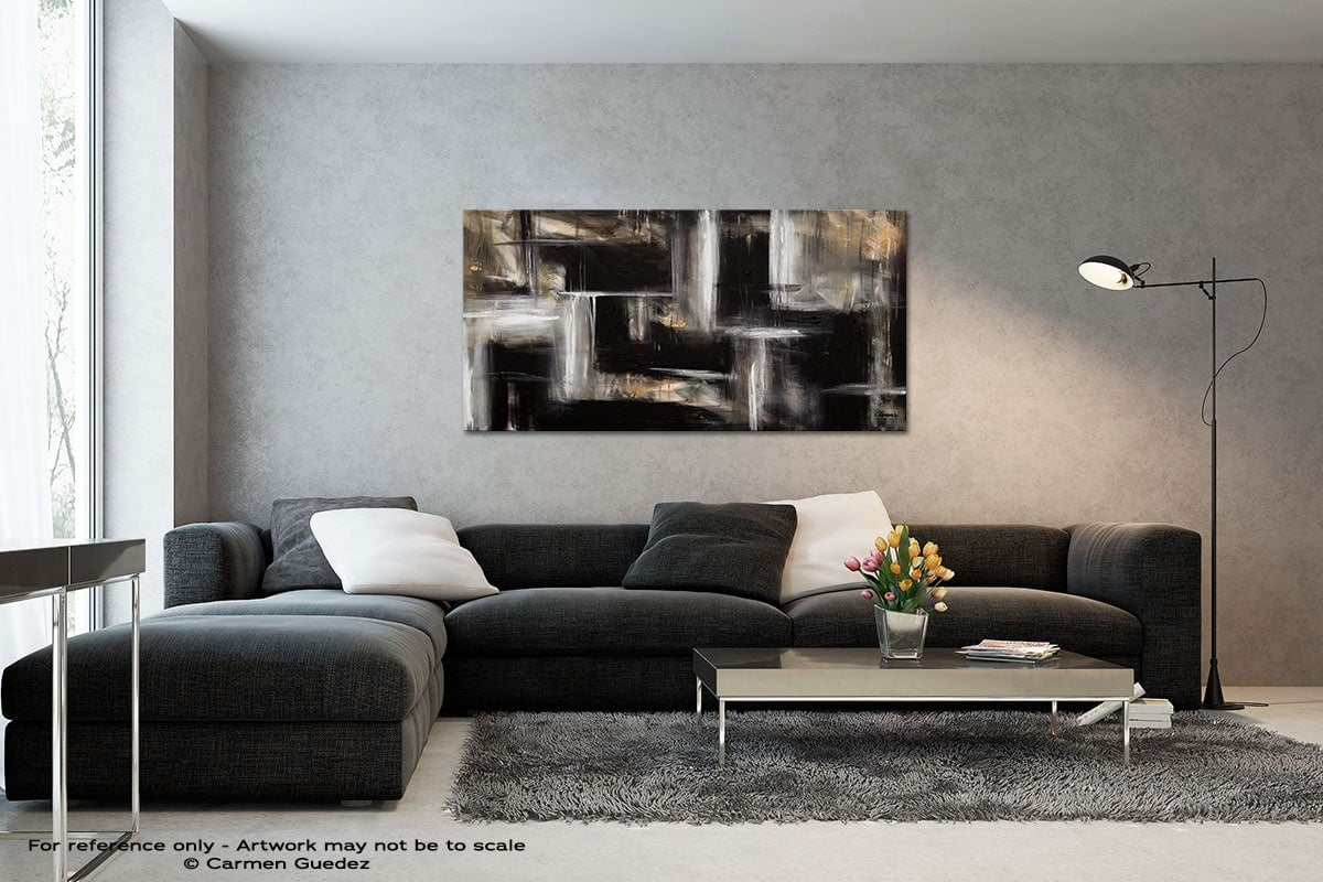 Mind Over Matter Black And White Wall Abstract Art Painting Id70