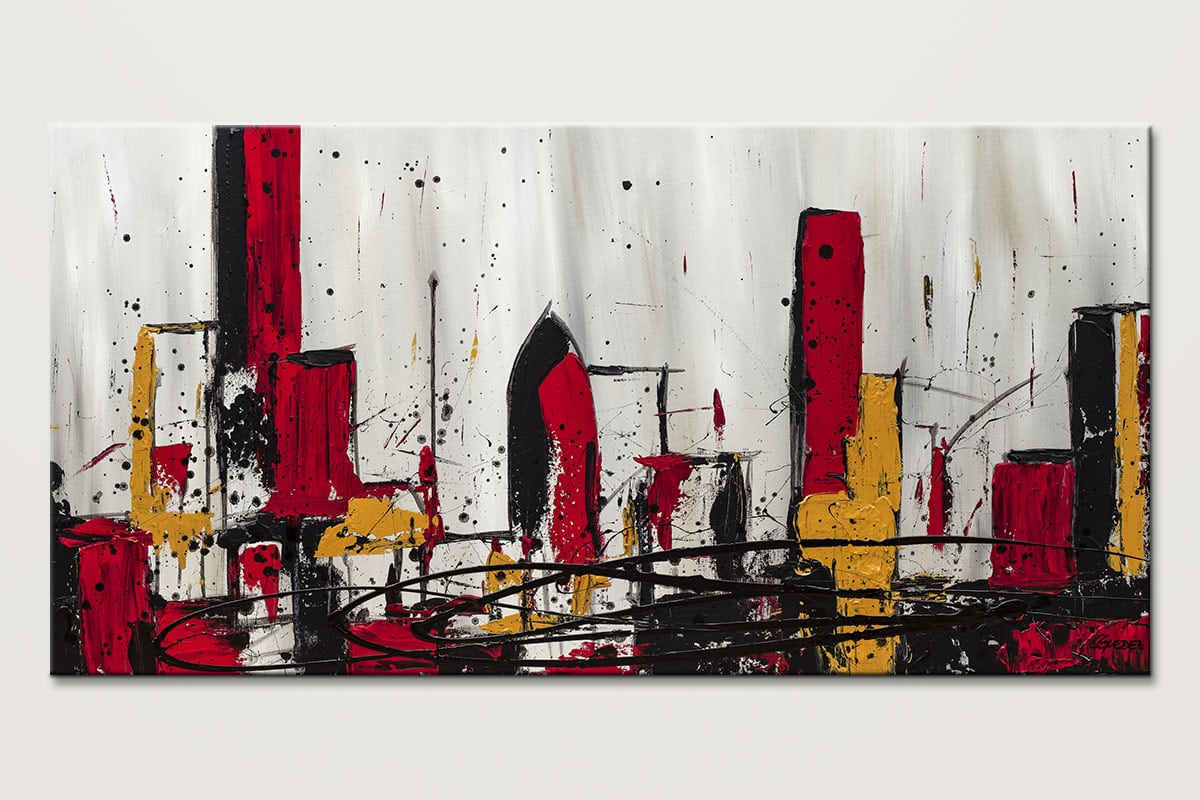 Modern city abstract art abstract wall art paintings for for Large artwork for sale