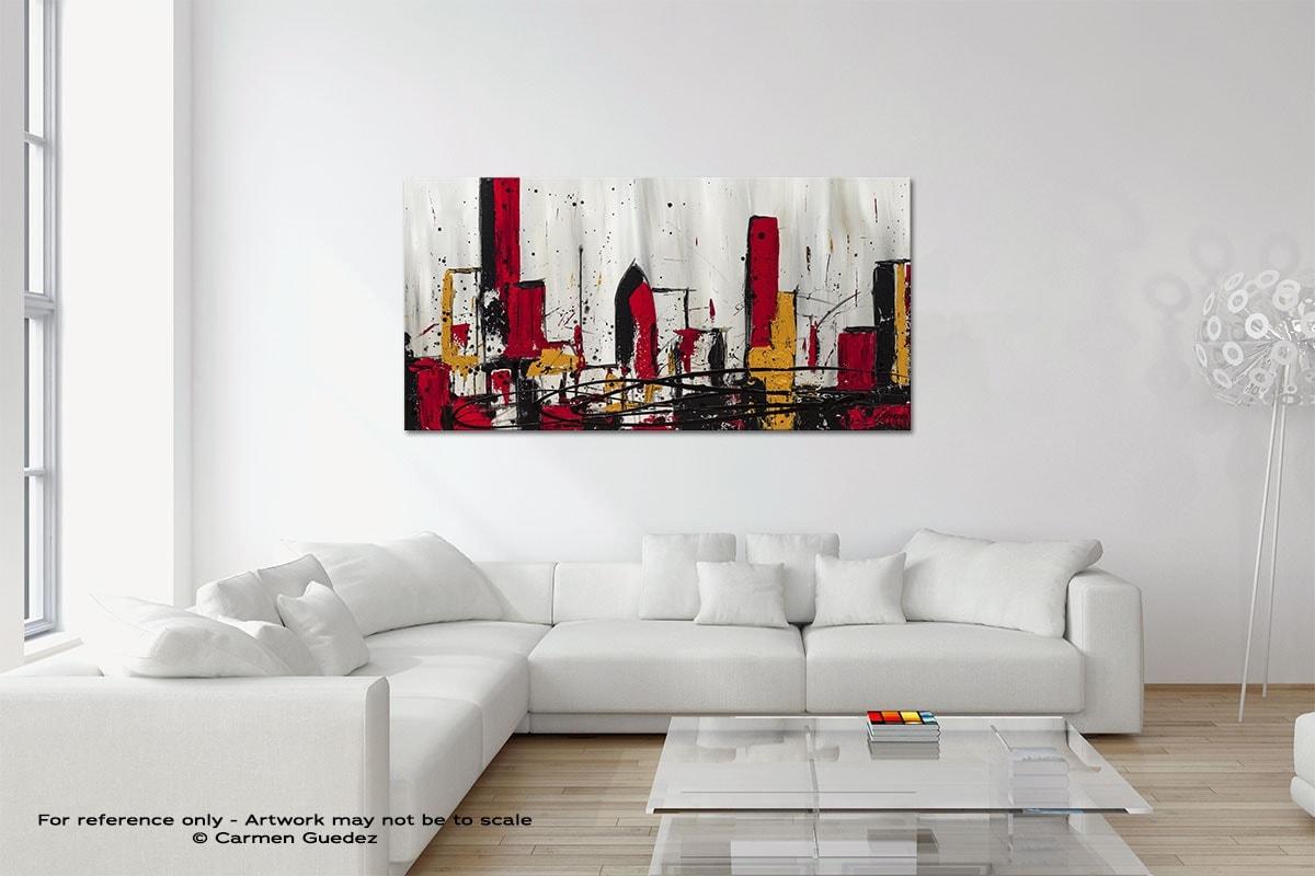 Modern City Original Neutral Abstract Wall Art Room Id39