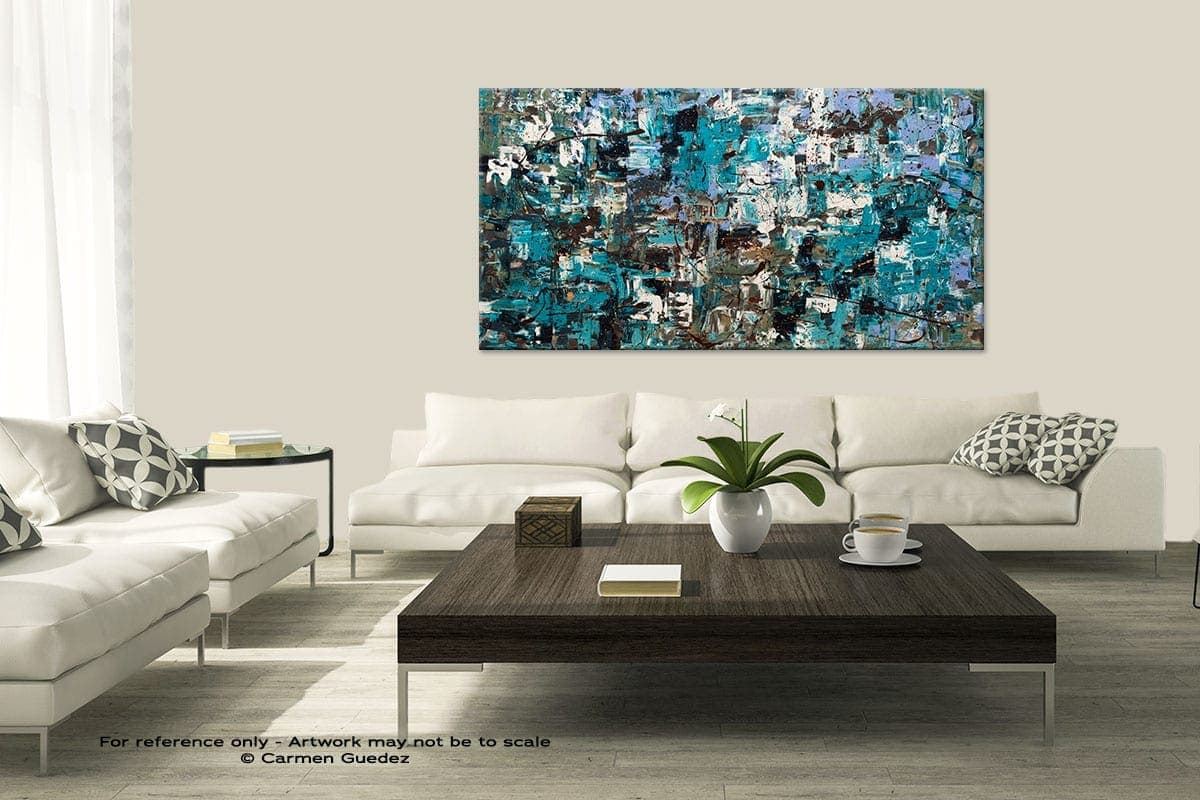Modern Large Abstract Art Painting Id8 Beach And Mountains