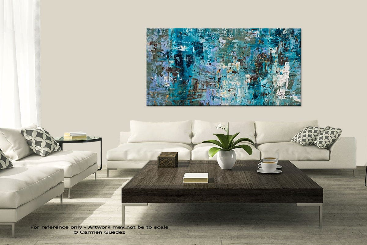 Modern Large Abstract Art Painting Id8 Blue Ocean