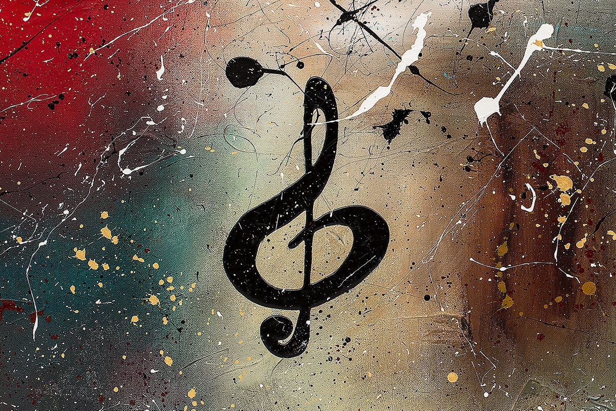 Music Celebration Abstract Art Painting Close Up