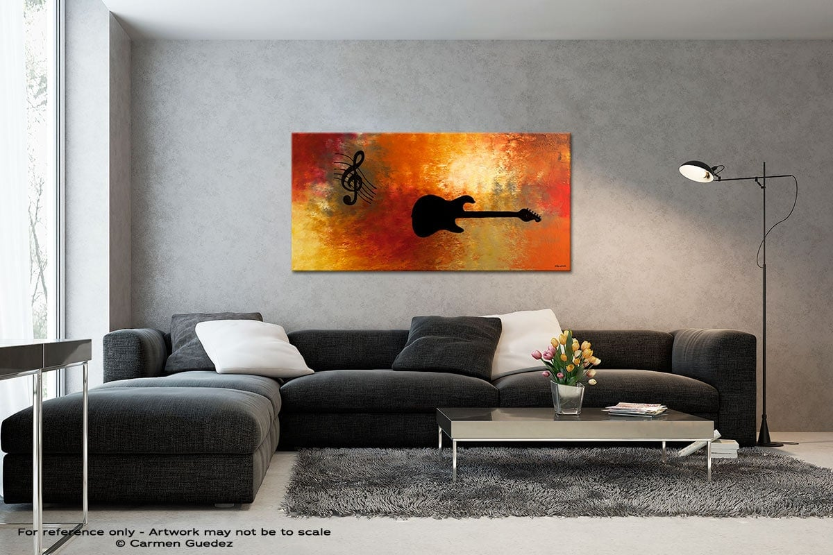 Musique Et Guitare Black And White Wall Abstract Art Painting Id70